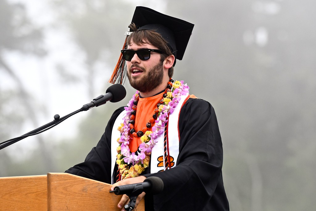 . Dylan Diemer speaks of the huge impact students had on the community, such as  breaking records for blood donations, the many champion teams and individuals, many funding drives and shutting down Arcata power during  homecoming parade with a balloon. (José Quezada�For the Times-Standard)