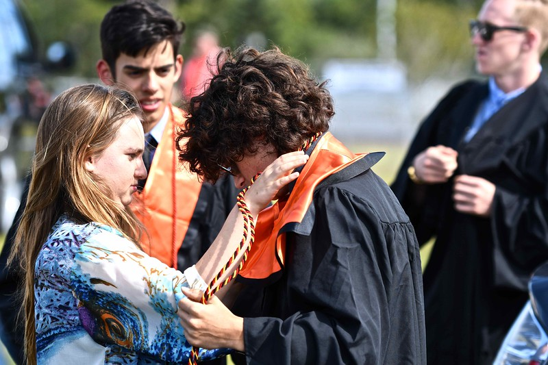 Graduation pre-readiness in the McKinleyville High parking lot for this Arcata high School graduating senior. (José Quezada—For the Times-Standard)