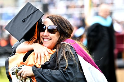 Jennifer Coriell says goodbye to one of her students at the Arcata High School graduation. (José Quezada—For the Times-Standard)