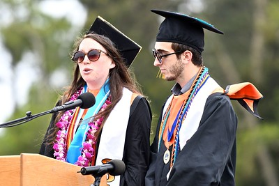 Salutatorian Greta Bishop and Max Gambin, ASB President, begin the 120th Arcata High School commencement ceremony. (José Quezada—For the Times-Standard)