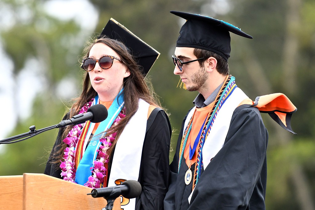 . Salutatorian Greta Bishop and Max Gambin, ASB President, begin the 120th Arcata High School commencement ceremony. (José Quezada�For the Times-Standard)