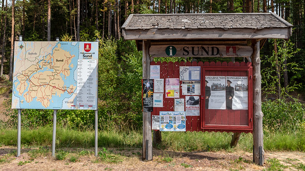 Åland July 2018, Sund municipalities information board.