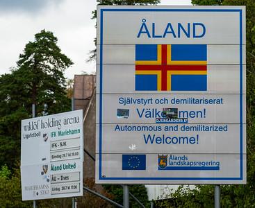 Åland July 2018, entry information board.
