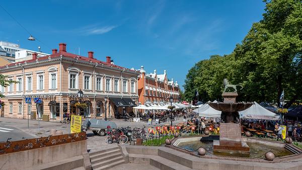 Finland, Turku 2018, Linnankatu street behind riverfront.