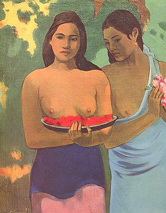 Madrid, Thyssen-Bornemisza Museum, Gauguin exhibition.Two Tahitian Women, (1899)