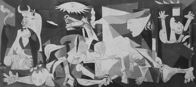 Madrid, Museo Reina Sofia, Painting Guernica by Picasso 1937, Oil on canvas, Dimensions 349 cm × 776 cm .