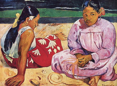 Madrid, Thyssen-Bornemisza Museum, Gauguin exhibition. Tahitian Women on the Beach, (1891)
