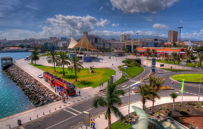 Las Palmas, Gran Canaria, Santa Catalina Park Bus Station. View from El Muelle shopping center.