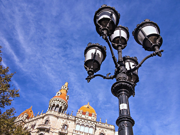 Barcelona, Casas Rocamora and Lamp on Passeig de Garcia.