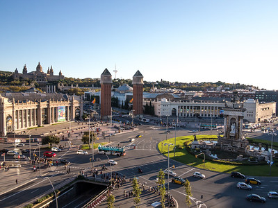 Barcelona, Placa D Espanya, view from Hotel Catalonia.