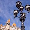 Barcelona, Casas Rocamora and Lamp on Passeig de Garcia.