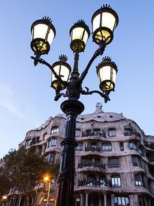 Barcelona, Passeig de Garcia, La Pedrera and Lamp.