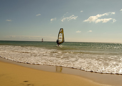 Fuerteventura, windsurfing school south of Costa Calma.