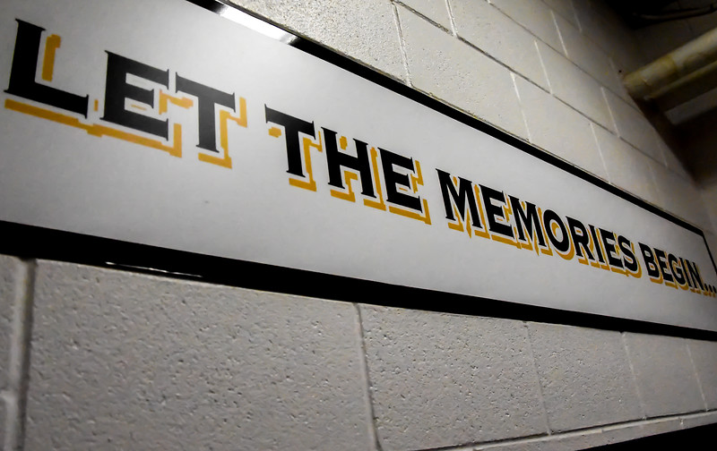 "A sign in the entry and exit to the Colorado Eagles dressing room leaves the players with a piece of advice: ""Let the memories begin."" (Cris Tiller / Loveland Reporter-Herald)"