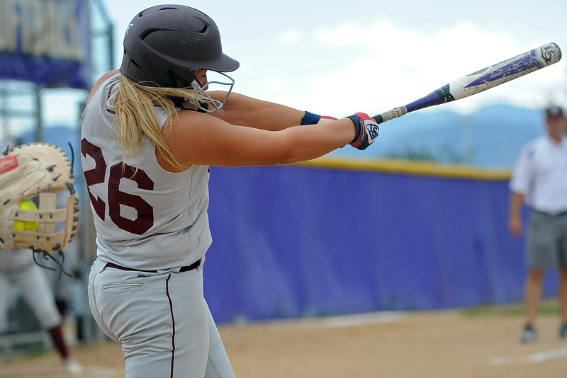 Berthoud's Natalie Fischer takes a swing during a game Tuesday, September, 11, 2018 at Holy Family High School in Broomfield, Colorado. (Sean Star/Loveland Reporter-Herald)