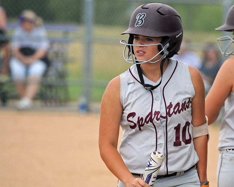 Berthoud's Carly Rafferty heads to the dugout during a game Tuesday, September, 11, 2018 at Holy Family High School in Broomfield, Colorado. (Sean Star/Loveland Reporter-Herald)