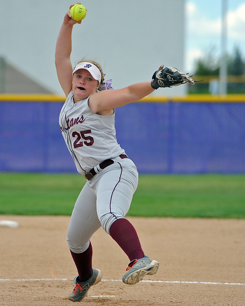 Berthoud's Sarah Jorissen winds up during a game Tuesday, September, 11, 2018 at Holy Family High School in Broomfield, Colorado. (Sean Star/Loveland Reporter-Herald)