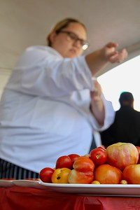HANS PETER - DAILY DEMOCRAT Chefs competed during the Tomato Festival to create the best tomato-based dishes.