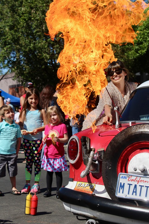 . HANS PETER - DAILY DEMOCRAT A spot of pyrotechnics at the Back to the Streets Car Show on Main Street.