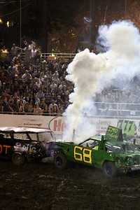 HANS PETER - DAILY DEMOCRAT Cars destroyed one another at a Destruction Derby this summer.