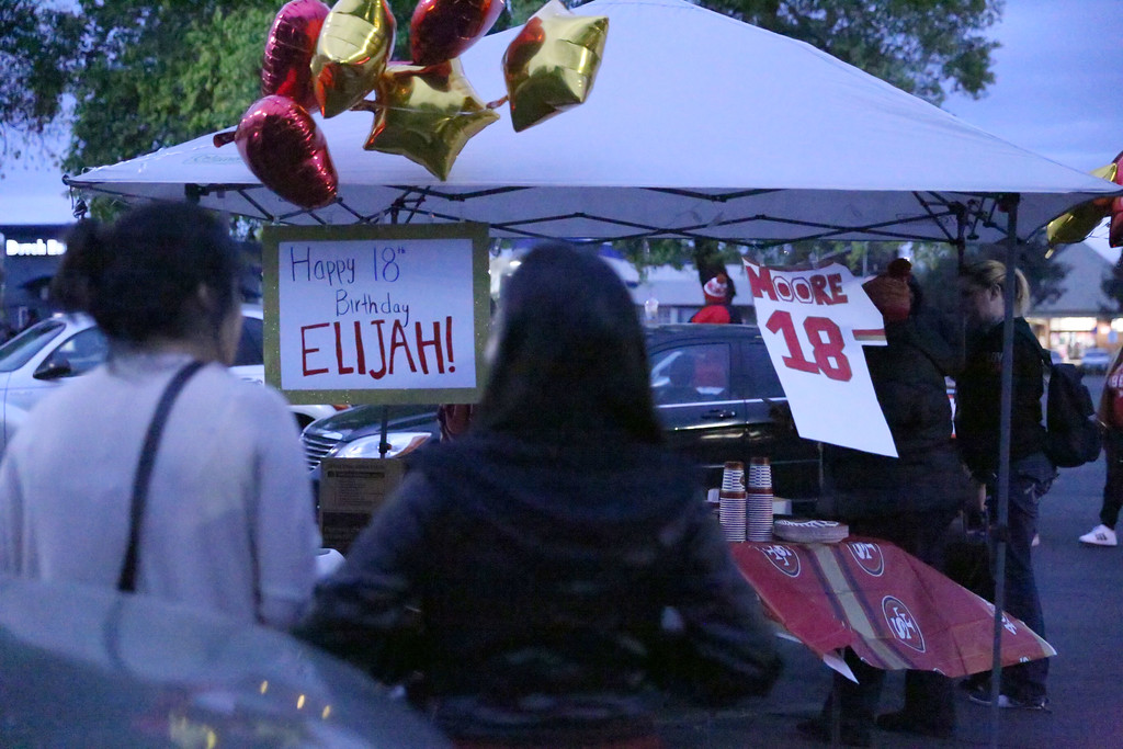 . SARAH DOWLING - DAILY DEMOCRAT  Friends and family turnout for a birthday celebration for Elijah Moore on Friday night. It has been one year since his disappearnce.