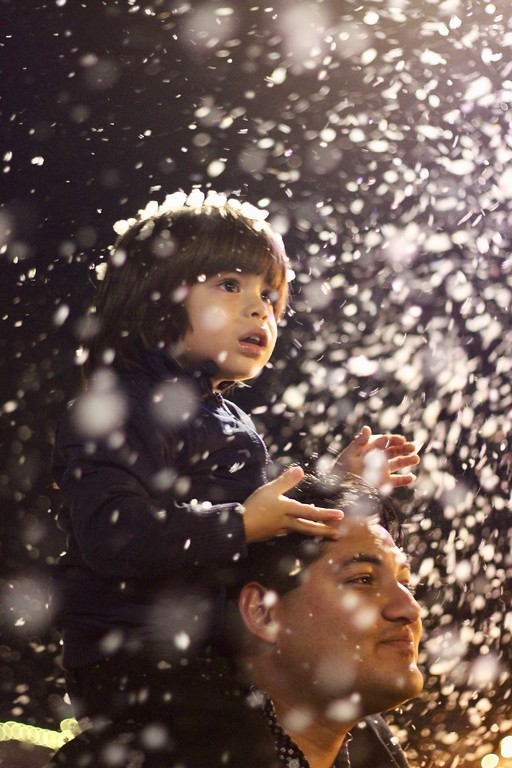 """. HANS PETER - DAILY DEMOCRAT The Christmas Tree Lighting in Heritage Plaza featured a \""""snow\"""" machine that spewed out bubbles"""