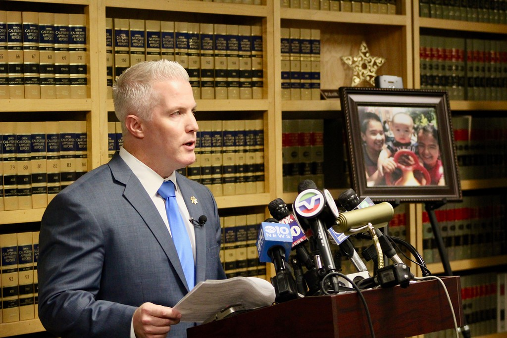 . HANS PETER - DAILY DEMOCRAT District Attorney Jeff Reisig addressed the media after the West Sacramento triple homicide. It was the first in Yolo County since the DA\'s office began taking records in 1980.