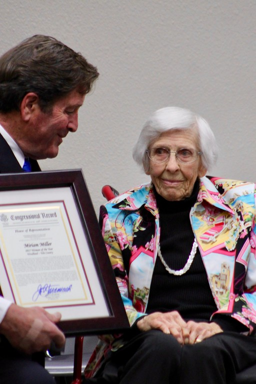 . HANS PETER - DAILY DEMOCRAT John Garamendi presented a Woman of the Year award to Miriam Miller, a long-time Woodland advocate.