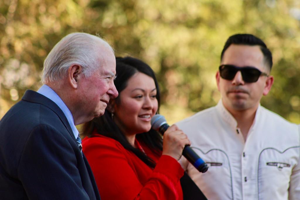 . HANS PETER - DAILY DEMOCRAT Local officials speak at a Cesar Chavez celebration.