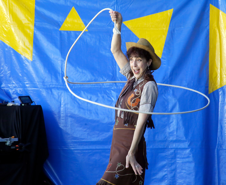 Shaun Walker — The Times-Standard  Karen Quest does rope tricks at the Best of Humboldt Fair at Redwood Acres in Eureka on Friday. The fair continues through Sunday at 5 p.m. and features rides, animals, shows, food, exhibits, and games. For more information, go to redwoodacres.com.