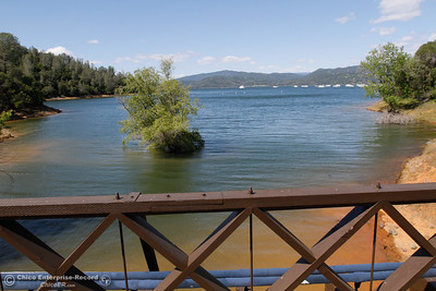 A view of Lake Oroville from the center of the Bidwell Bar Suspension Bridge April 25, 2016 at the Bidwell Bar in Oroville, Calif. (Emily Bertolino -- Enterprise-Record)