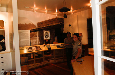 California State Park rangers Shelby Barcus and Chelsea Douglas take a look inside the the Toll House at the Bidwell Bar Suspension Bridge April 25, 2016 in Oroville, Calif. (Emily Bertolino -- Enterprise-Record)
