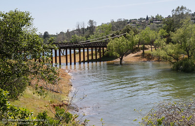 A view of the Bidwell Bar Suspension Bridge after crossing the bridge from Wicke Island April 25, 2016 at the Bidwell Bar in Oroville, Calif. (Emily Bertolino -- Enterprise-Record)