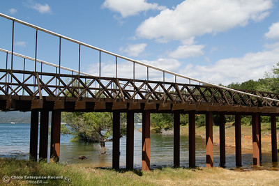 Completed in 1859, the Bidwell Bar Suspension Bridge was the first bridge of its kind in California April 25, 2016 at Bidwell Canyon Marina in Oroville, Calif. (Emily Bertolino -- Enterprise-Record)