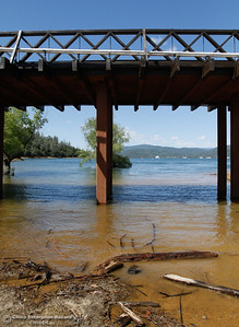 After years of low water levels at Lake Oroville, water finally flows under the Bidwell Bar Suspension Bridge April 25, 2016 at the Bidwell Bar in Oroville, Calif. (Emily Bertolino -- Enterprise-Record)