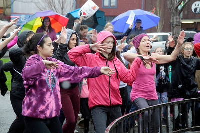 Shaun Walker — The Times-Standard  Perhaps 80 people danced together in the rain during the One Billion Rising event on the Arcata Plaza on Friday afternoon. Part of a global effort, community members danced to to rise up and say no to violence and injustice. V-day Humboldt and other support organizations provided information and played music.