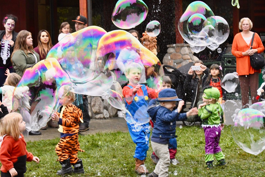. Bubbles entertain young costume-clad visitors at Boo at the Zoo on Sunday afternoon. José Quezada�For Times-Standard