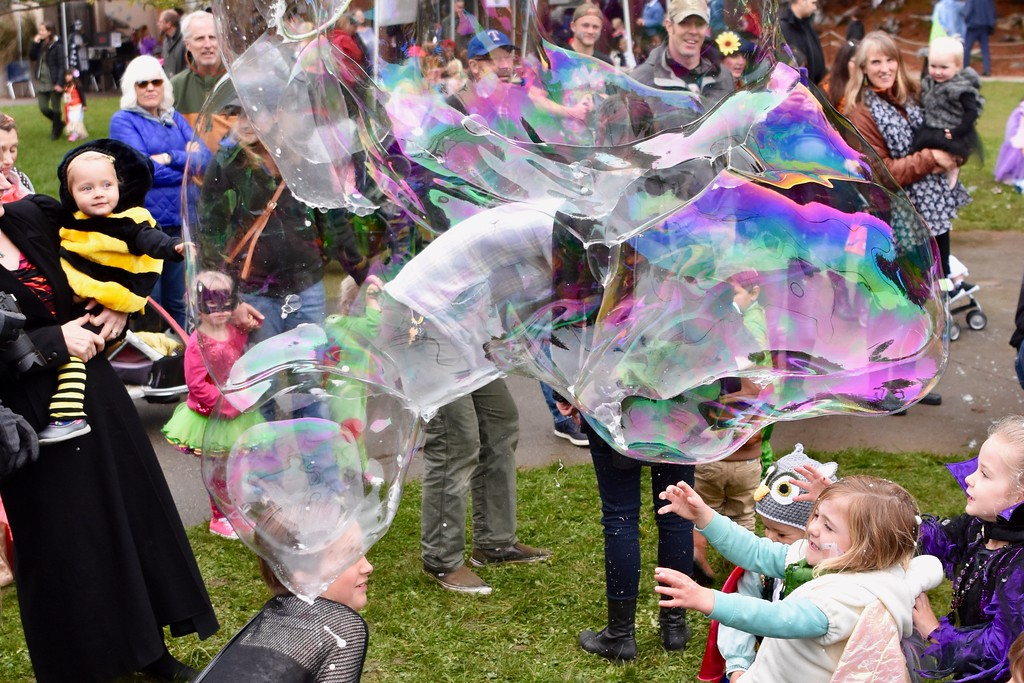 . Zoo visitors chase bubbles. José Quezada�For Times-Standard