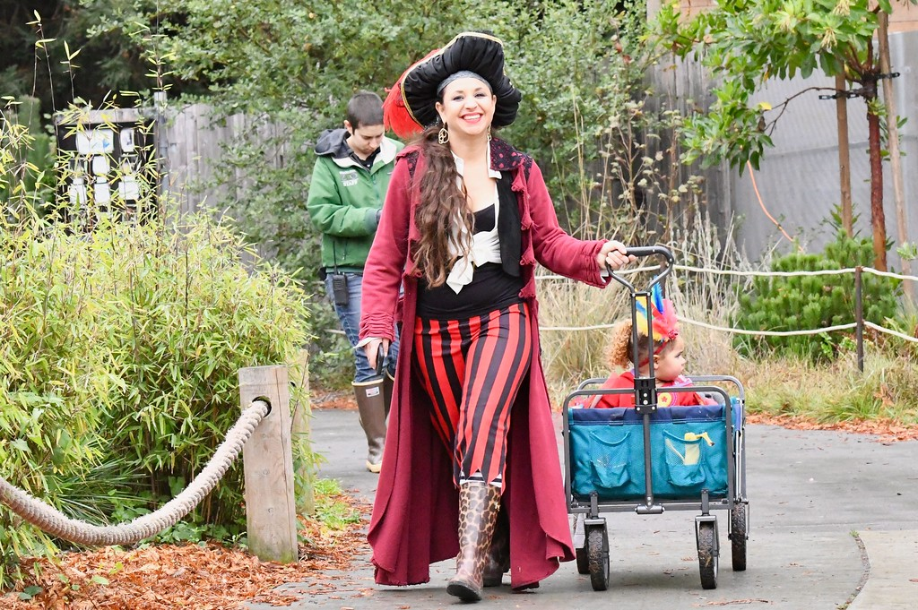 . A pirate takes her kid loot home after a fun time at Boo at the Zoo at Sequoia Park Zoo Sunday. José Quezada�For Times-Standard