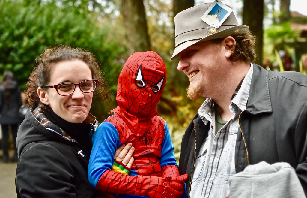 ". Alison Edrington, Miles ""Spiderman\"" Edrington and Thomas K. Edrington pause from visiting the Boo at the Zoo offerings. José Quezada�For Times-Standard"