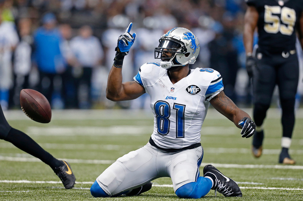 . Detroit Lions wide receiver Calvin Johnson (81) reacts after a first down reception in the first half of an NFL football game against the New Orleans Saints in New Orleans, Monday, Dec. 21, 2015. (AP Photo/Jonathan Bachman)