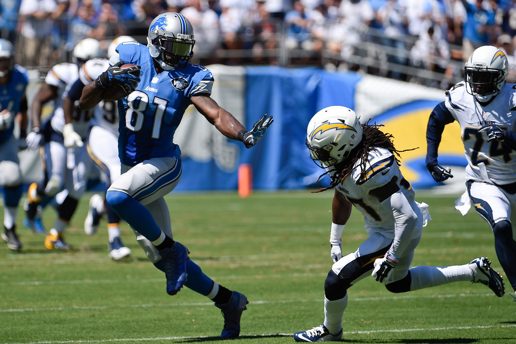 . Detroit Lions wide receiver Calvin Johnson (81) runs upfield as San Diego Chargers defensive back Jahleel Addae defends during the first half of an NFL football game Sunday, Sept. 13, 2015, in San Diego. (AP Photo/Denis Poroy)