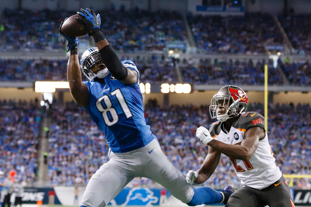 . Detroit Lions wide receiver Calvin Johnson, defended by Tampa Bay Buccaneers cornerback Johnthan Banks (27), catches a 6-yard pass for a touchdown during the first half of an NFL football game in Detroit, Sunday, Dec. 7, 2014. (AP Photo/Rick Osentoski)