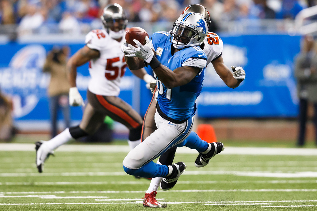 . Detroit Lions wide receiver Calvin Johnson (81) makes a reception defended by Tampa Bay Buccaneers cornerback Johnthan Banks (27) during an NFL football game at Ford Field in Detroit, Sunday, Nov. 24, 2013. (AP Photo/Rick Osentoski)