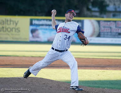 Stuart Bradley started Thursday's game on the mound and threw 5 2/3 innings for the Chico Heat June 23, 2016 in Chico, Calif. (Emily Bertolino -- Enterprise - Record)