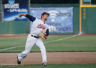 Chico Heat's third baseman Daniel Schneemann throws to first for the out during a baseball game between the Chico Heat and the Marysville Gold Soxs June 23, 2016 in Chico, Calif. (Emily Bertolino -- Enterprise - Record)