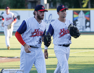 Chico Heat's Dustin Jack and Clayton Hubbard during a baseball game between the Chico Heat and the Marysville Gold Soxs June 23, 2016 in Chico, Calif. (Emily Bertolino -- Enterprise - Record)