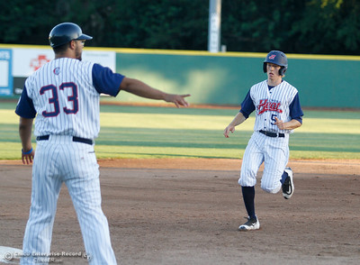 Chico Heat's Joe Raymond rounds third during a baseball game between the Chico Heat and the Marysville Gold Soxs June 23, 2016 in Chico, Calif. (Emily Bertolino -- Enterprise - Record)
