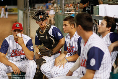 A crew ofChico Heat baseball players during the regular-season home finale game against the Lodi Crushers August 8, 2016 at Nettleton Stadium in Chico, Calif. (Emily Bertolino -- Enterprise-Record)