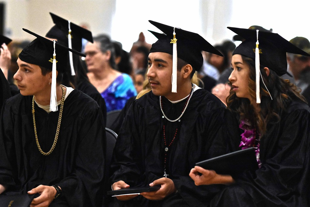 . Graduates-to-be listen to Felicia Doherty, Director of Court and Community Schools.  (José Quezada�For the Times-Standard)